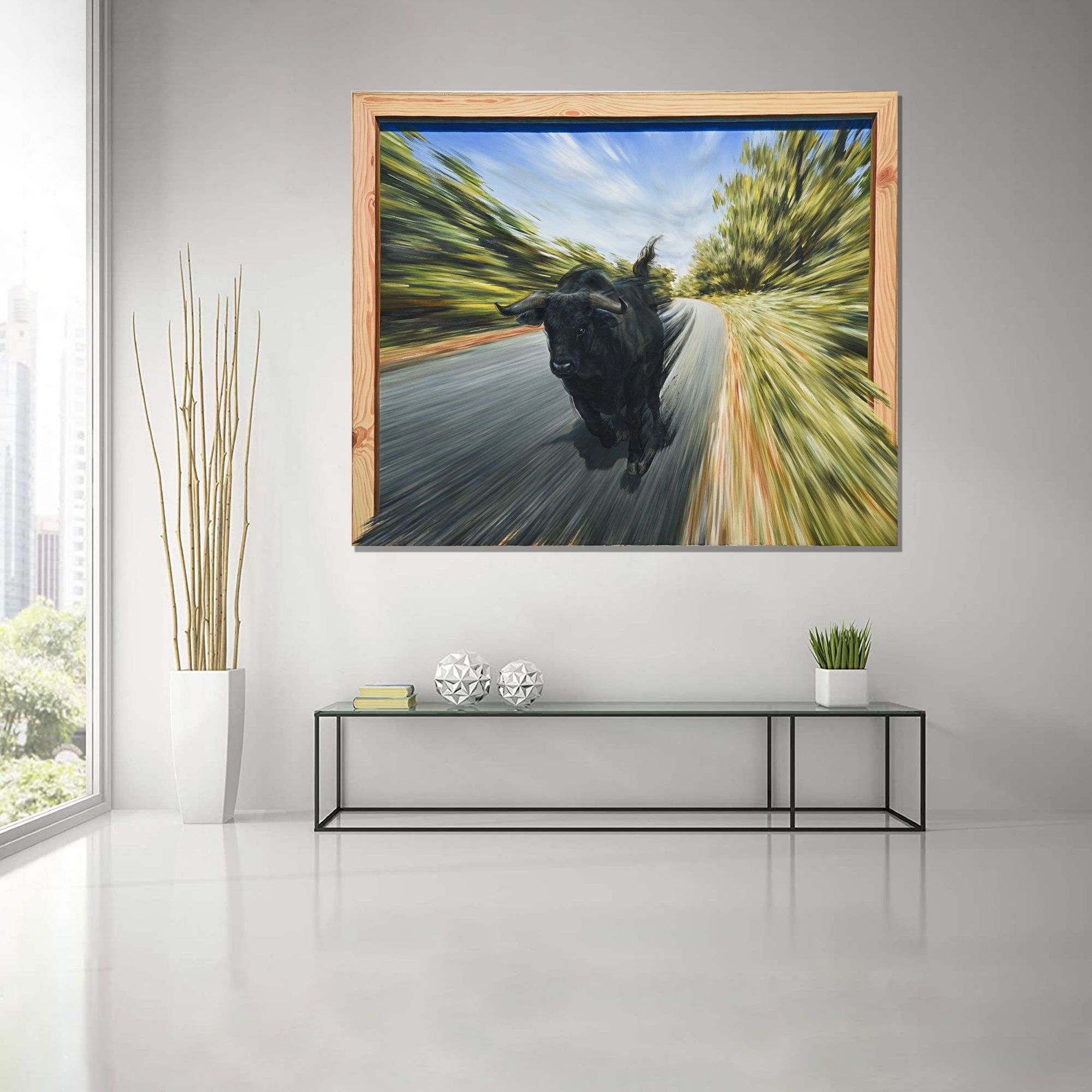 3D ABSTRACT ART BULL PAINTING