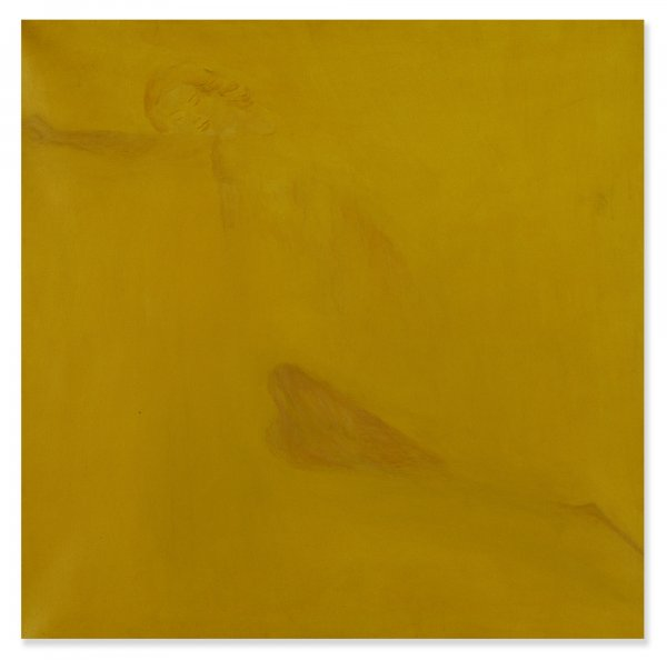 Yellow Painting Original Hidden Woman Picture Abstract Art
