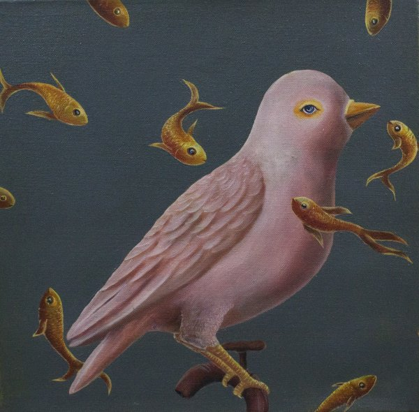 PINK BIRD WALL PAINTING