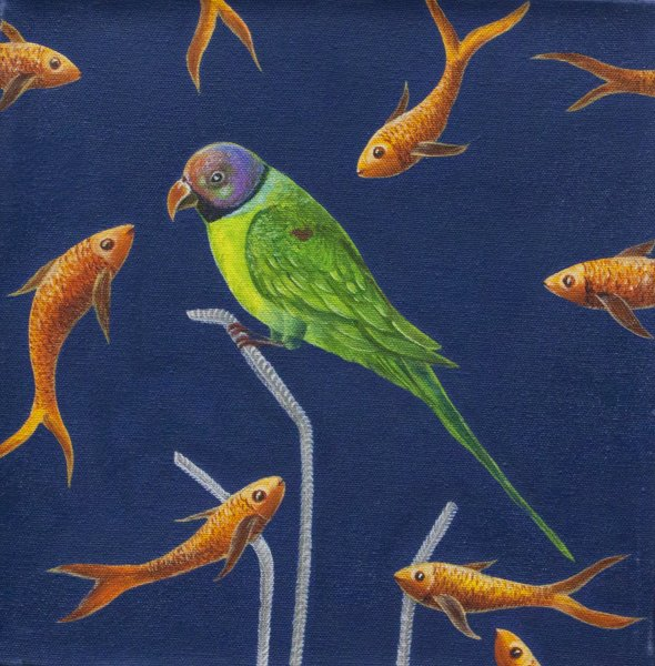 GREEN PARROT PAINTING LUCKY BIRD ARTWORK