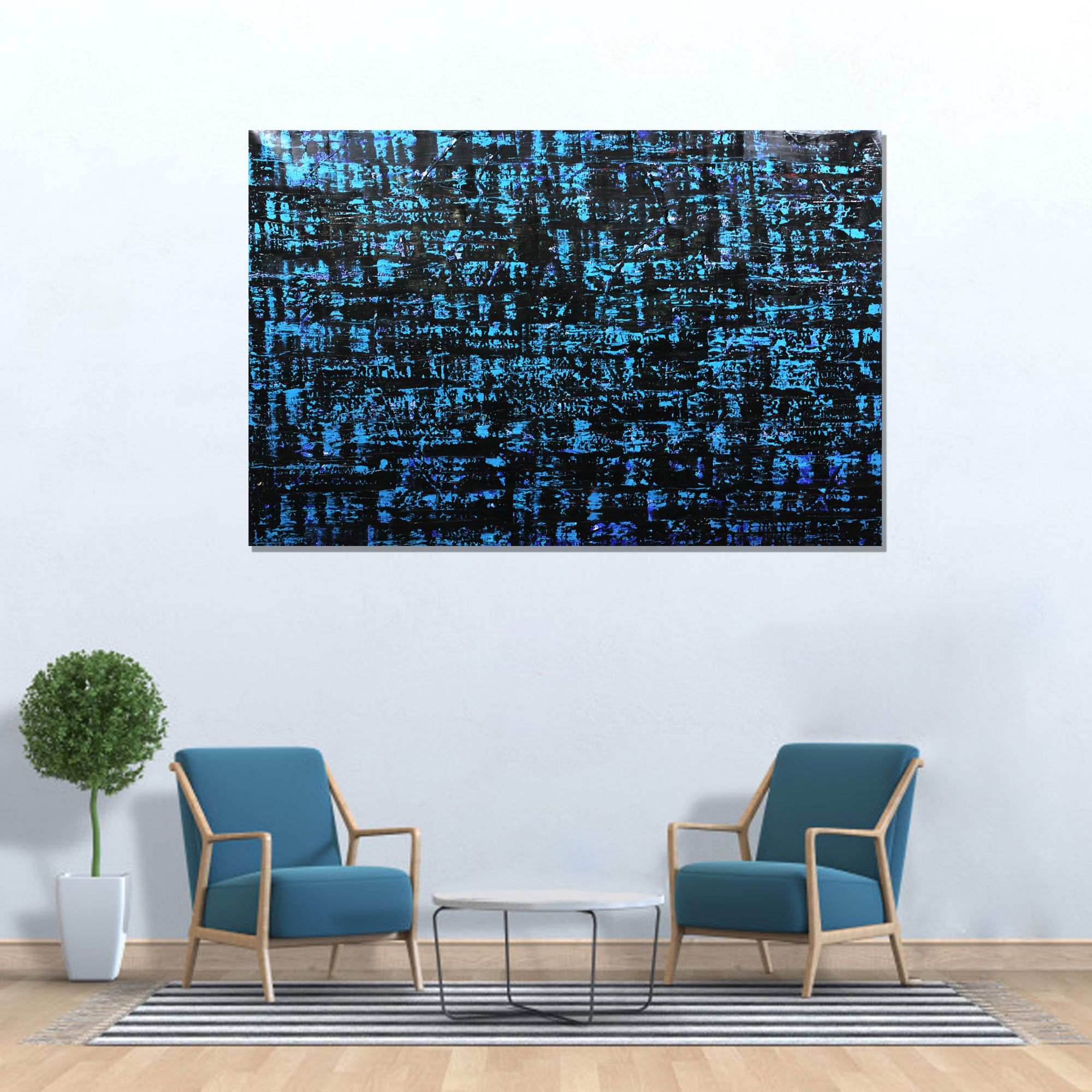 Blue Abstract Wall Art Painting Original